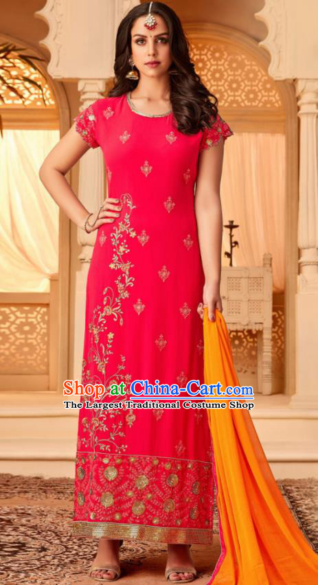 Traditional Indian Punjab Rosy Georgette Blouse and Pants Asian India National Costumes for Women