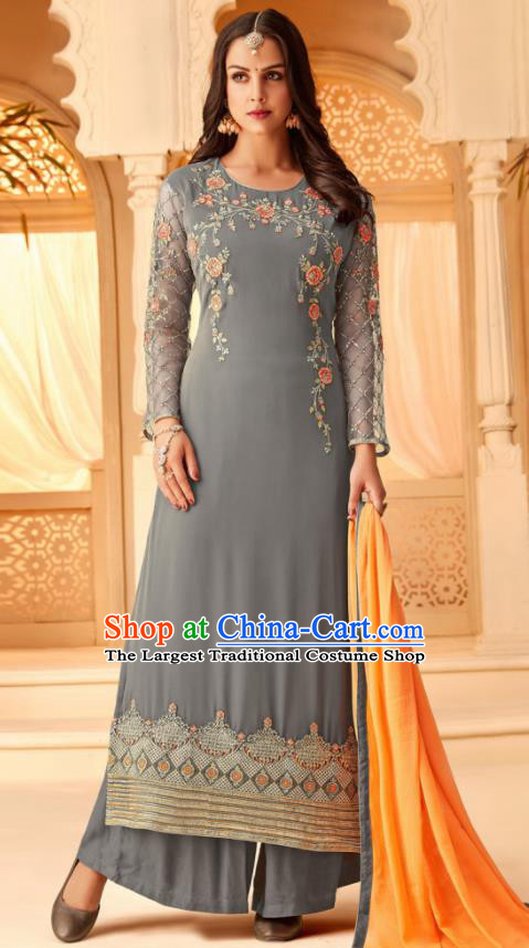 Traditional Indian Punjab Grey Georgette Blouse and Pants Asian India National Costumes for Women
