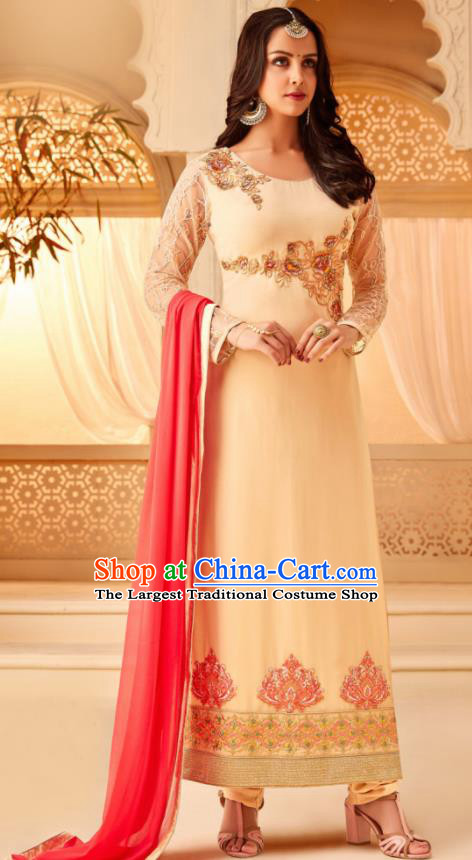 Traditional Indian Punjab Beige Georgette Blouse and Pants Asian India National Costumes for Women
