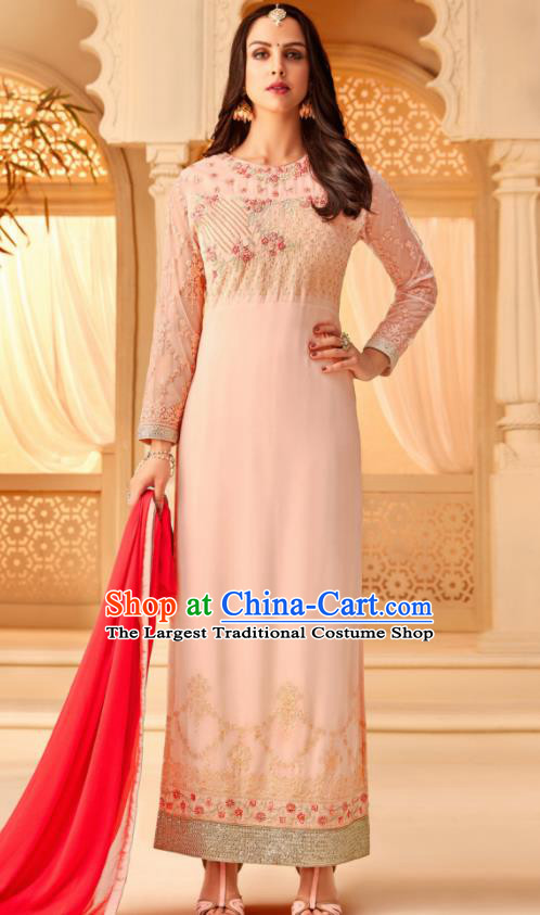 Traditional Indian Punjab Pink Georgette Blouse and Pants Asian India National Costumes for Women