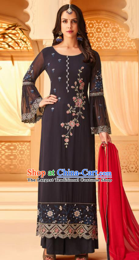 Traditional Indian Punjab Black Georgette Blouse and Pants Asian India National Costumes for Women