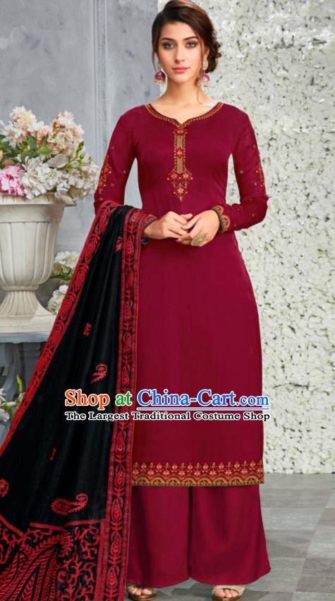 Traditional Indian Lehenga Embroidered Wine Red Blouse and Pants Asian India Punjab National Costumes for Women