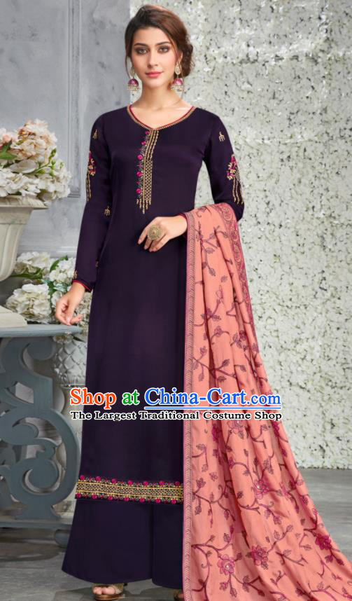 Traditional Indian Lehenga Embroidered Purple Blouse and Pants Asian India Punjab National Costumes for Women