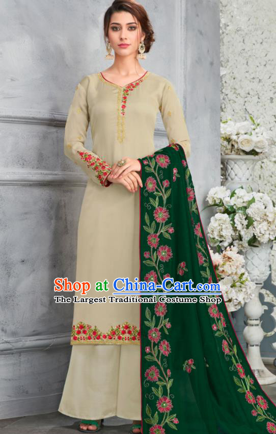 Traditional Indian Lehenga Embroidered Apricot Blouse and Pants Asian India Punjab National Costumes for Women