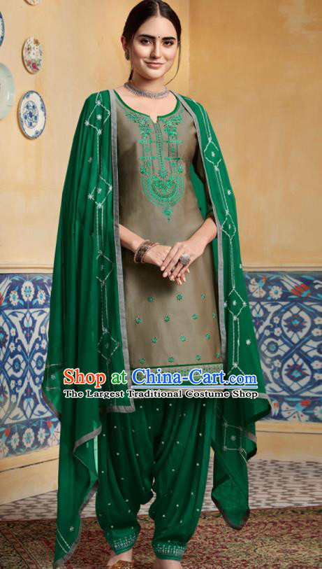 Traditional Indian Punjab Grey Satin Blouse and Green Pants Asian India National Costumes for Women