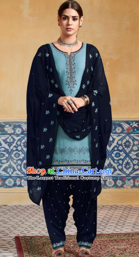 Traditional Indian Punjab Blue Satin Blouse and Navy Pants Asian India National Costumes for Women