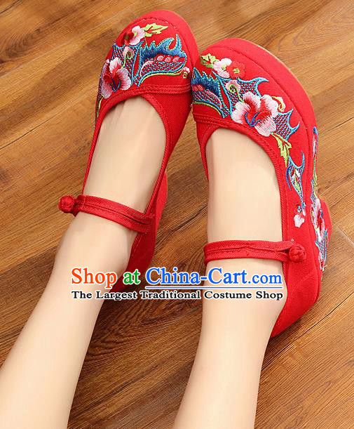 Chinese Wedding Red High Heels Shoes Traditional Hanfu Shoes Opera Shoes Embroidered Shoes for Women