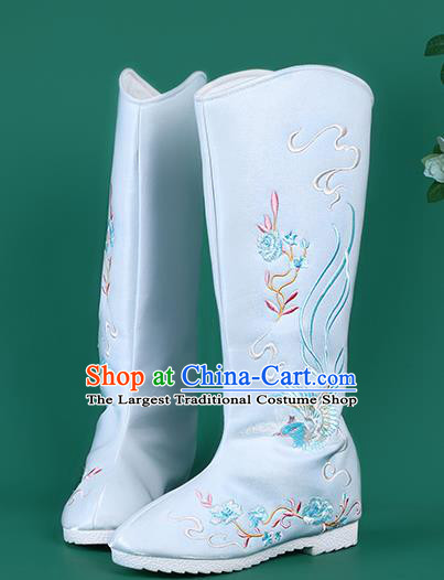 Chinese Traditional Embroidered Blue High Boots Hanfu Shoes Embroidered Boots for Women