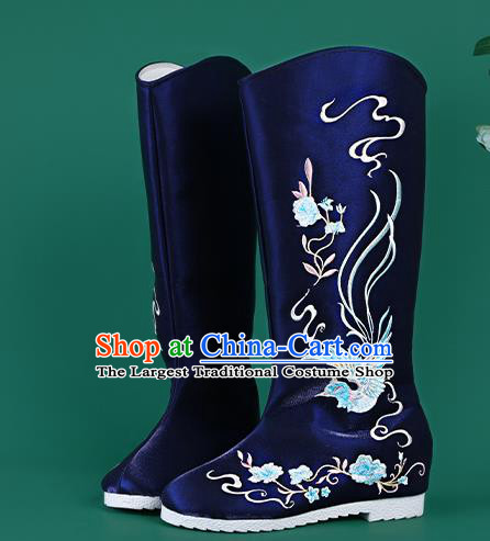 Chinese Traditional Embroidered Royalblue High Boots Hanfu Shoes Embroidered Boots for Women