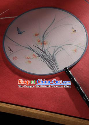 Chinese Traditional Printing Orchid Round Fans Hanfu Silk Palace Fan for Women