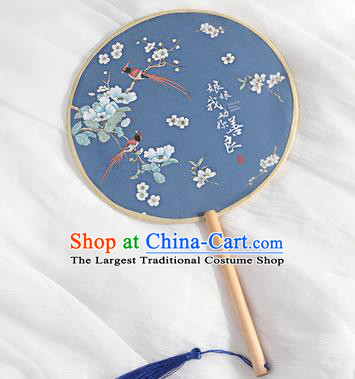 Chinese Traditional Printing Plum Blossom Blue Round Fans Hanfu Silk Palace Fan for Women