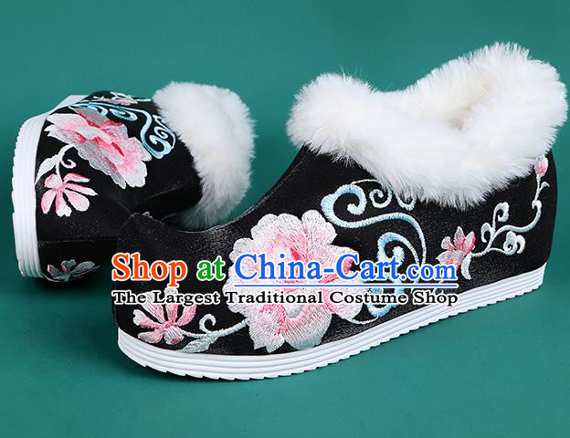 Chinese Traditional Winter Black Ankle Boots Hanfu Shoes Embroidered Boots for Women