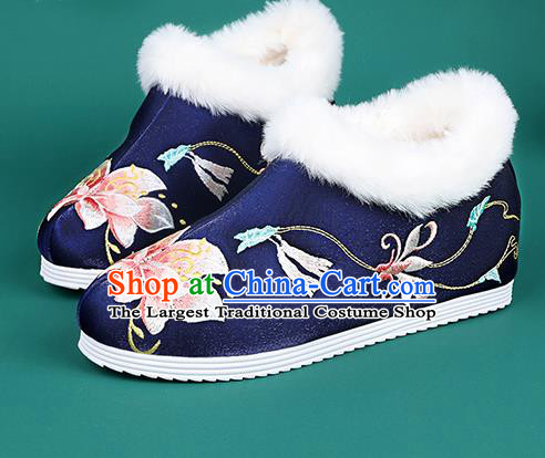 Chinese Traditional Winter Embroidered Peony Royalblue Ankle Boots Hanfu Shoes Cloth Boots for Women