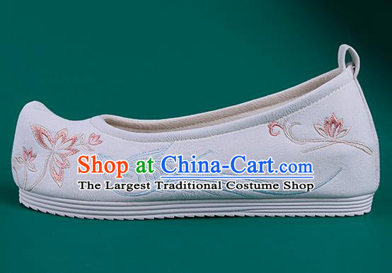 Chinese Traditional Embroidered Bird Lotus White Shoes Hanfu Shoes Princess Shoes for Women