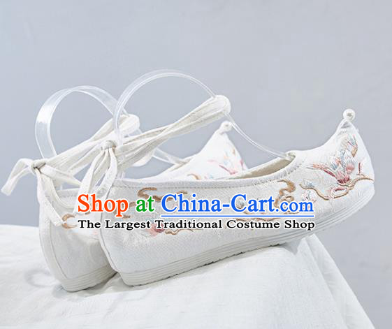 Traditional Chinese National Winter Shoes Embroidered Cloud White Shoes Hanfu Shoes for Women
