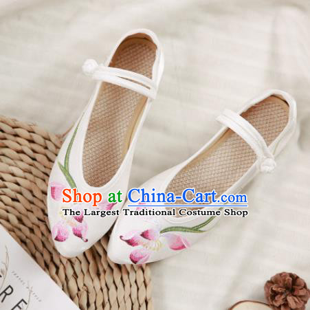 Traditional Chinese National Embroidery Lotus White Shoes Embroidered Shoes Hanfu Shoes for Women