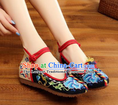Traditional Chinese Old Beijing Embroidery Peony Black Shoes National Embroidered Shoes Hanfu Shoes for Women