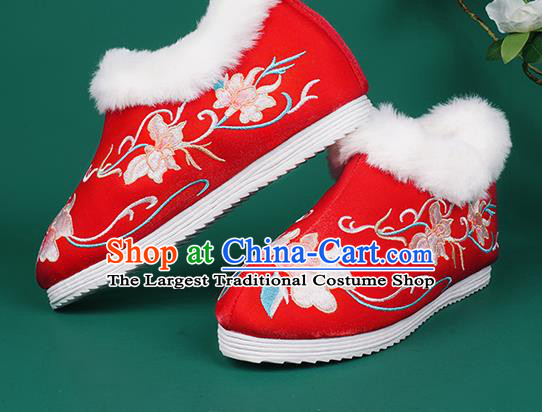 Chinese Traditional Winter Embroidered Red Ankle Boots Hanfu Shoes Cloth Boots for Women