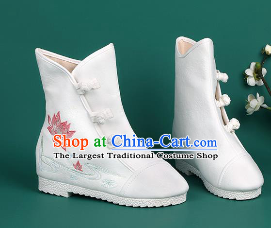 Chinese Traditional Winter Embroidered Lotus White Boots Hanfu Shoes Cloth Boots for Women