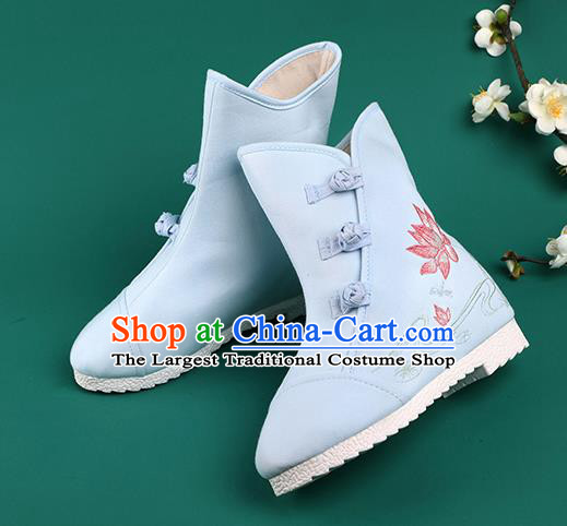 Chinese Traditional Winter Embroidered Lotus Blue Boots Hanfu Shoes Cloth Boots for Women