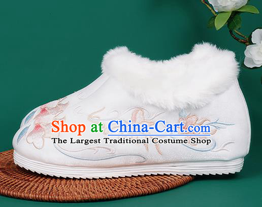 Chinese Traditional Embroidered Winter White Boots Hanfu Shoes Cloth Boots for Women