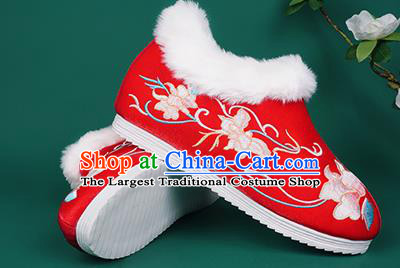 Chinese Traditional Embroidered Winter Red Boots Hanfu Shoes Cloth Boots for Women
