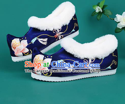 Chinese Traditional Embroidered Flowers Winter Royalblue Boots Hanfu Shoes Cloth Boots for Women