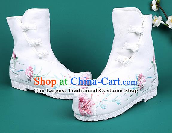 Chinese Traditional Embroidered Boots Hanfu Shoes White Cloth Boots for Women
