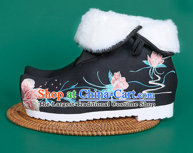 Chinese Traditional Embroidered Boots Hanfu Shoes Black Cloth Boots for Women