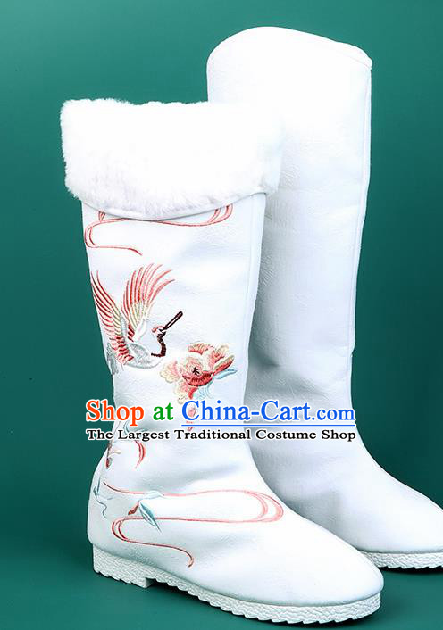 Chinese Traditional Embroidered Crane White High Boots Hanfu Shoes Cloth Boots for Women