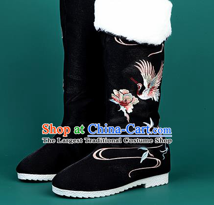 Chinese Traditional Embroidered Crane Black High Boots Hanfu Shoes Cloth Boots for Women
