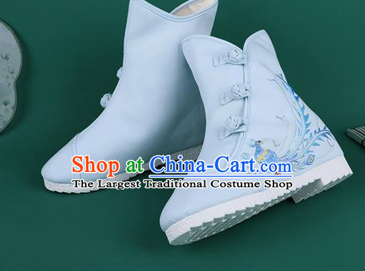 Handmade Chinese Traditional Embroidered Phoenix Blue Boots Hanfu Shoes Cloth Boots for Women
