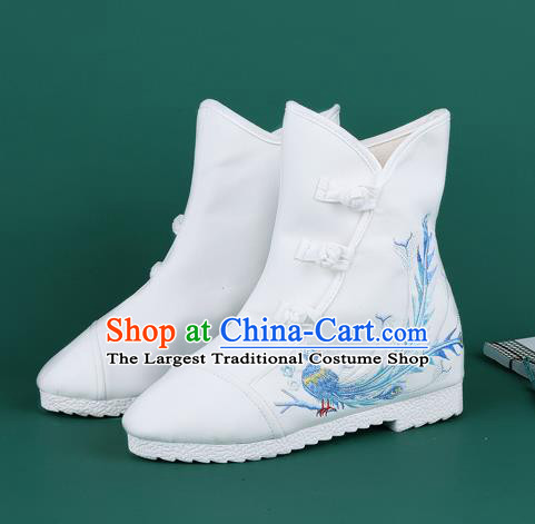 Handmade Chinese Traditional Embroidered Phoenix White Boots Hanfu Shoes Cloth Boots for Women