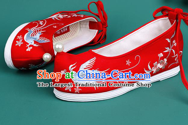 Chinese Traditional Embroidered Swallow Red Shoes Hanfu Pearl Shoes Princess Shoes for Women