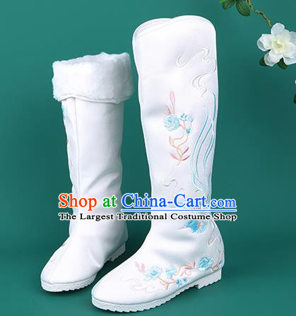 Handmade Chinese Cloth Boots Traditional Embroidered Phoenix White Boots Hanfu Shoes for Women