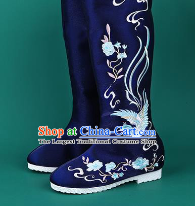 Handmade Chinese Cloth Boots Traditional Embroidered Phoenix Royalblue Boots Hanfu Shoes for Women