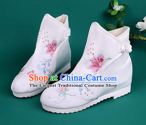 Handmade Chinese White Cloth Boots Traditional Embroidered Boots Hanfu Shoes for Women