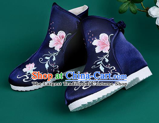 Handmade Chinese Royalblue Cloth Boots Traditional Embroidered Boots Hanfu Shoes for Women