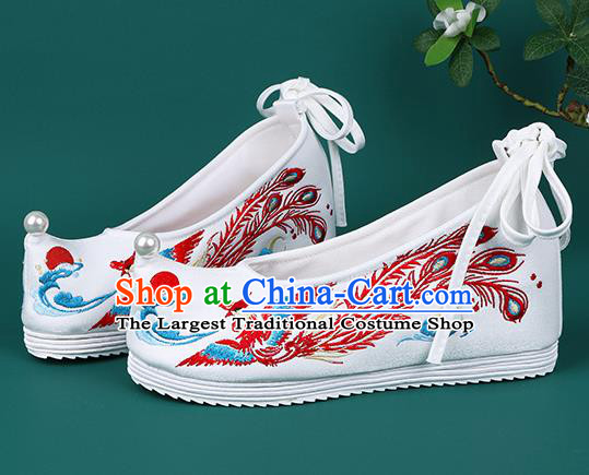 Chinese Embroidered Red Phoenix Shoes Traditional Hanfu Shoes Princess Shoes for Women