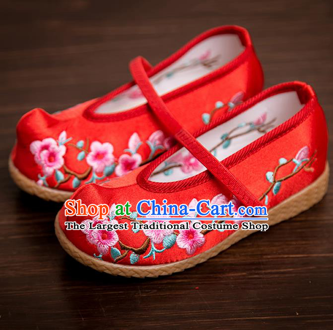 Handmade Chinese National Shoes Traditional New Year Red Embroidered Shoes Hanfu Shoes for Kids