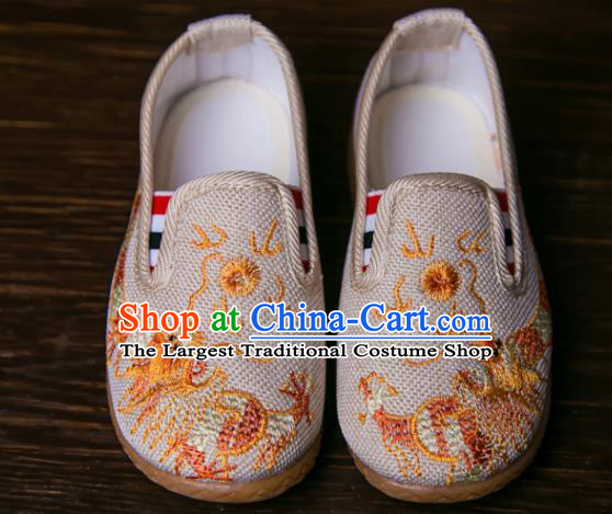 Handmade Chinese Traditional Beige Canvas Embroidered Dragon Shoes New Year National Shoes Hanfu Shoes for Kids