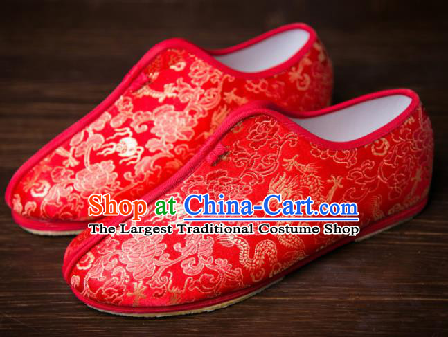 Handmade Chinese Bridegroom Red Shoes Traditional Kung Fu Embroidered Shoes Hanfu Shoes for Men