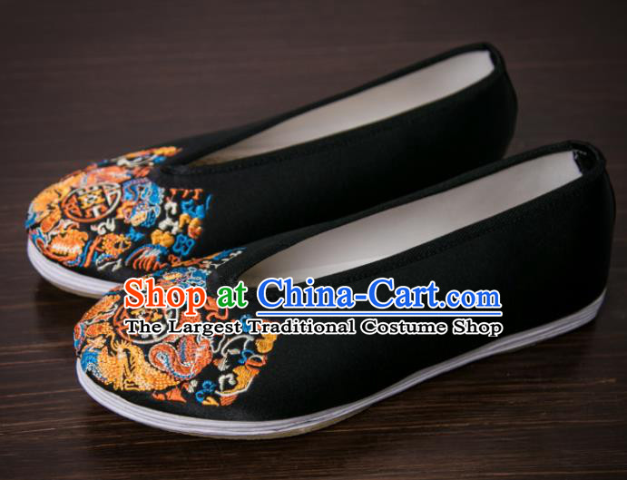 Handmade Chinese Bridegroom Embroidered Black Shoes Traditional Kung Fu Shoes Hanfu Shoes for Men