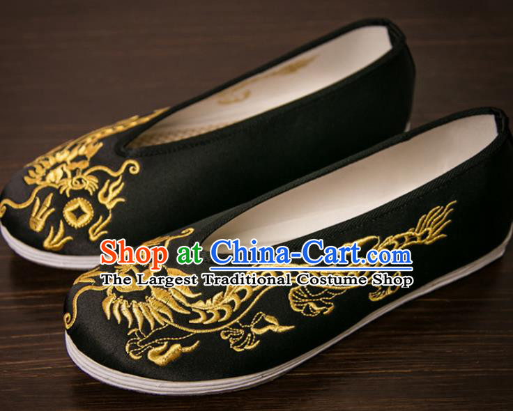 Handmade Chinese Bridegroom Embroidered Dragon Black Shoes Traditional Kung Fu Shoes Hanfu Shoes for Men