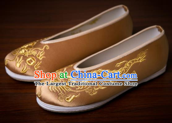 Handmade Chinese Bridegroom Embroidered Dragon Brown Shoes Traditional Kung Fu Shoes Hanfu Shoes for Men
