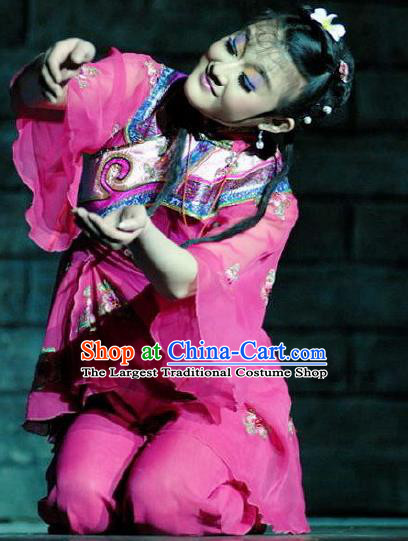 Chinese Dance Drama Wild Jujubes Folk Dance Rosy Dress Stage Performance Dance Costume and Headpiece for Women