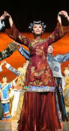 Chinese Dance Drama Wild Jujubes Ancient Classical Dance Purplish Red Dress Stage Performance Dance Costume and Headpiece for Women