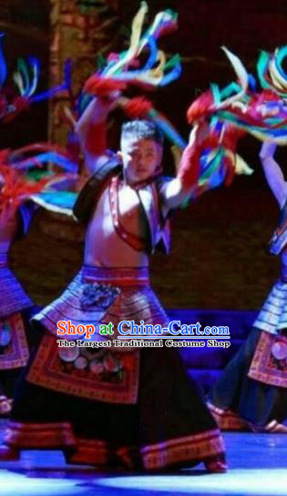 Chinese Dance Drama Colorful Guizhou Yi Nationality Folk Dance Clothing Stage Performance Dance Costume for Men