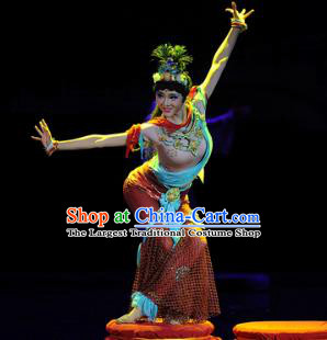 Chinese Chuansi Gongzhu Dance Dress Ancient Silk Princess Stage Performance Dance Costume and Headpiece for Women