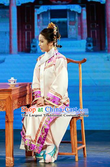 Deling and Cixi Chinese Qing Dynasty Princess White Dress Stage Performance Dance Costume and Headpiece for Women